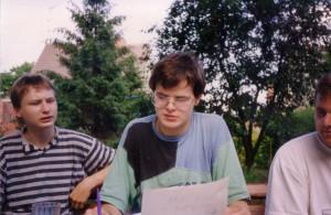 1993: Vorstandssitzung im frischen Team mit Sven Hörning, Christian Hausmann und Olaf Schütte (v.l.n.r.)