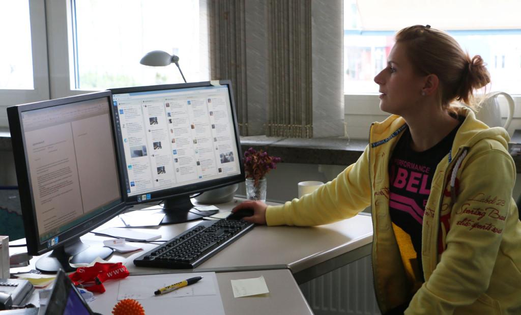 Im Zeitungsworkshop wird auch ein Online - Text verfasst