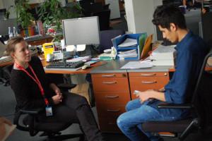 Foto vom Interview im Büro